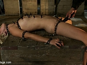 Bondage girl in clothespins torture