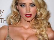 Amber Heard showing huge cleavage