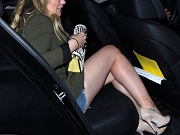 Hilary Duff leggy in denim shorts