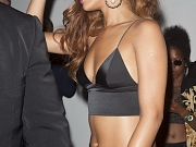 Rihanna cleavy & leggy in belly top