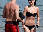 Olivia Wilde in black tube bikini