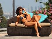 Melissa Riso curvy in black bikini