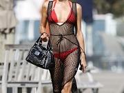 Paris Hilton in a hot red bikini
