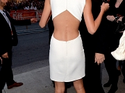 Taylor Swift looking sexy in white bareback dress