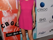 Stana Katic leggy wearing a high slit mini dress