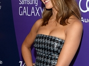 Jessica Alba busty wearing a strapless low cut dress at the event in Beverly Hils