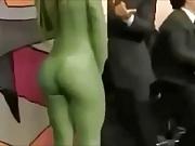 Big Boobs blonde in green spandex