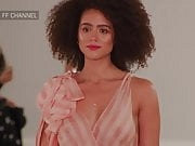 Nathalie Emmanuel - slomo runway walk, see-through top