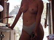 Sara Jean Underwood posing topless outdoors, September 2018