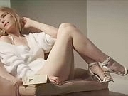 Blonde Kate Mara in sexy white lingerie