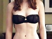 Brunette Kate Mara stripping to her bra and panties