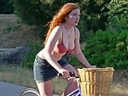 Annalise Basso riding a bike