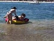 Noah Cyrus and fat friend at the beach